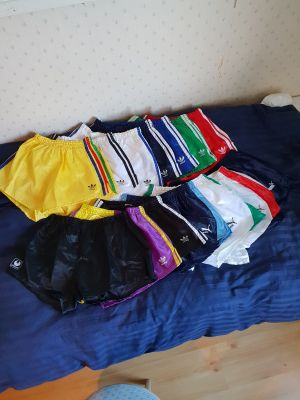 I just wanted to show my collection of shiny shorts. I have just started to collect, so it's not that big.